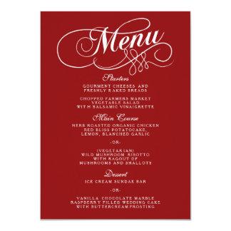Modelos vermelhos e brancos elegantes do menu do convite 11.30 x 15.87cm