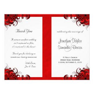 Modelos vermelhos florais do programa do casamento panfletos personalizado