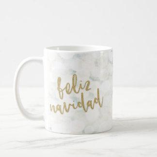 Moderna Feliz Navidad Blanco y Oro Caneca De Café