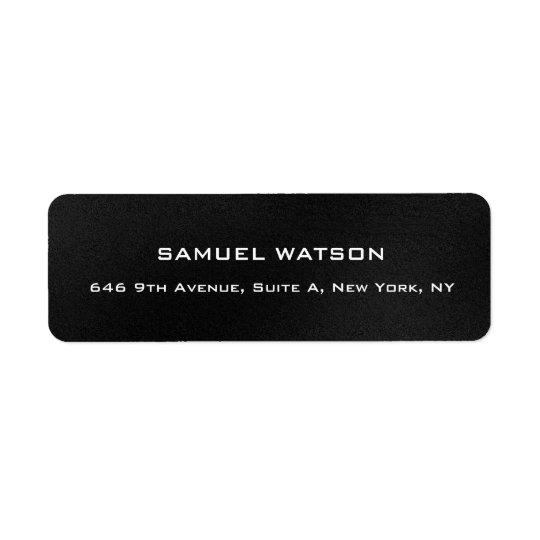 Moderno elegante liso cinzento escuro profissional etiqueta endereço de retorno