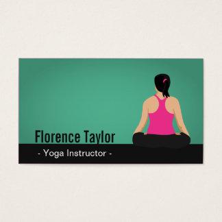 Moderno, golpeando, instrutor verde da ioga cartão de visitas
