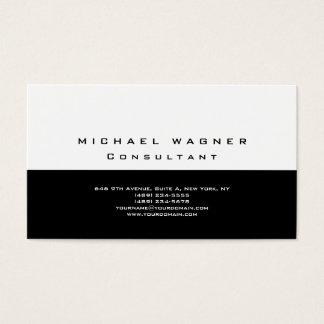 Moderno na moda branco preto simples liso cartão de visitas