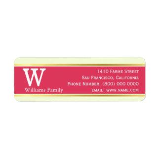 moderno & na moda, vermelho pastel, monogrammed etiqueta endereço de retorno