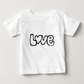 moderno simples branco do preto do doodle do amor camiseta para bebê
