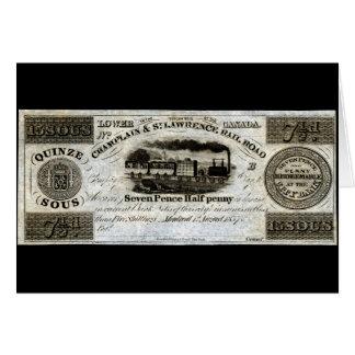 Moeda da estrada de ferro de 1837 canadenses cartão comemorativo