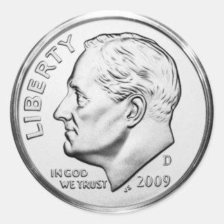 Moeda de dez centavos de Roosevelt (bloco de 6/20) Adesivo