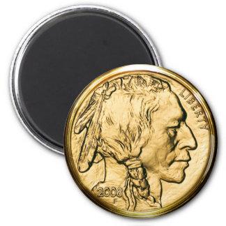 Moeda de ouro do nativo americano ímã redondo 5.08cm