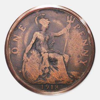 Moeda de um centavo britânica 1918 (bloco de 6/20) adesivo redondo