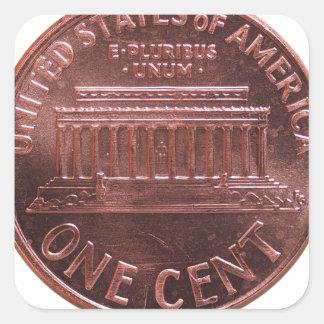 Moeda do dólar (USD), moeda dos Estados Unidos Adesivo Quadrado