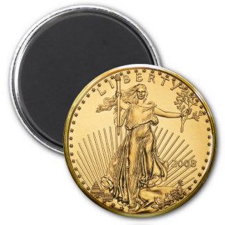 Moeda do lingote de ouro da liberdade ímã redondo 5.08cm