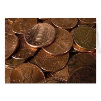 Moedas de um centavo cartão