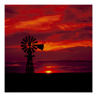 Moinho de vento e por do sol pôster