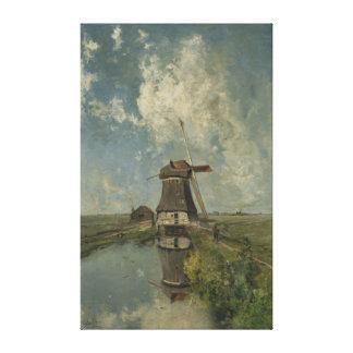 Moinho de vento holandês na via navegável Paul Impressão De Canvas Envolvidas