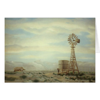 Moinho de vento no cartão da pintura a óleo da