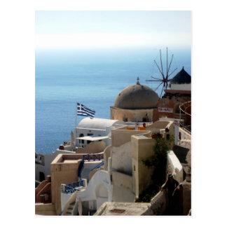 Moinhos de vento de Santorini Cartão Postal