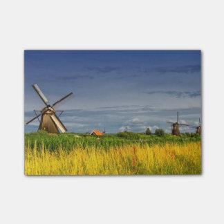 Moinhos de vento em Kinderdijk, Holland, Países Bloco Post-it