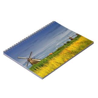 Moinhos de vento em Kinderdijk, Holland, Países Caderno
