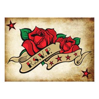 Moldes feitos sob encomenda do tatuagem cor-de-ros convites personalizados