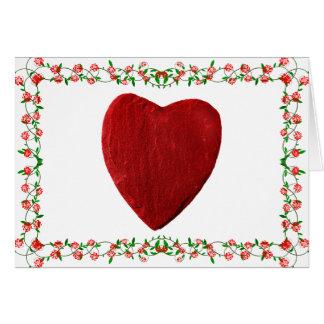 Moldura de rosa com coração cartão comemorativo
