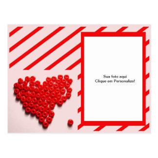 """Moldura para foto """"Coração de bolinhas"""" Cartão Postal"""
