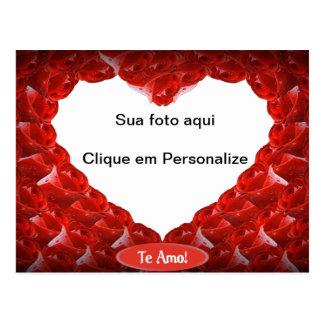 """Moldura para foto """"Coração de rosas"""" Cartão Postal"""