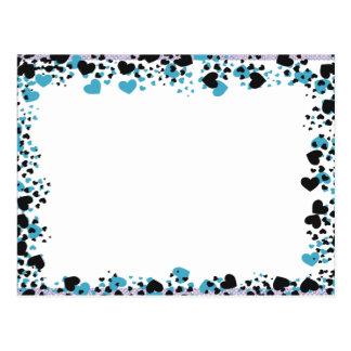 """Moldura para foto """"Corações azuis"""" Cartão Postal"""