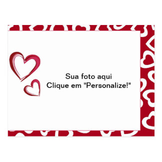 """Moldura para foto """"Corações"""" Cartão Postal"""
