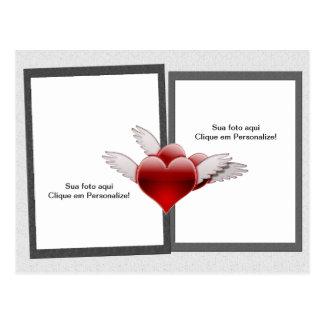 """Moldura para foto """"Corações com asas"""" Cartão Postal"""
