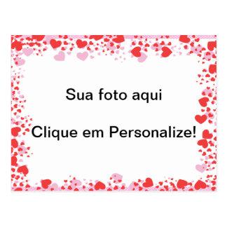 """Moldura para foto """"Corações vermelhos"""" Cartão Postal"""
