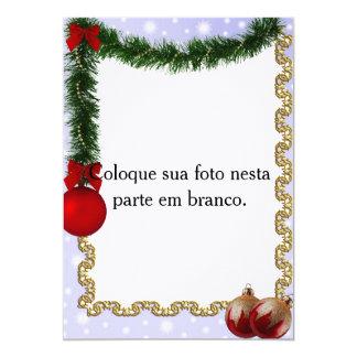 "Moldura para foto ""Enfeites de Natal"" Convite 12.7 X 17.78cm"
