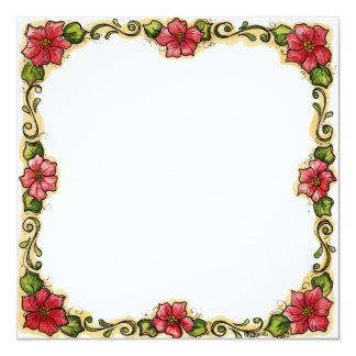 """Moldura para foto """"Flores"""" Convite Quadrado 13.35 X 13.35cm"""