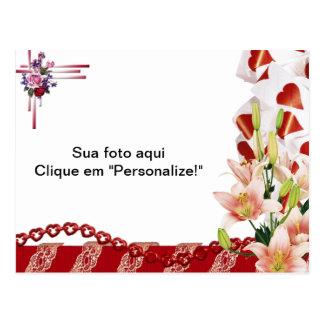 """Moldura para foto """"Flores e corações"""" Cartão Postal"""