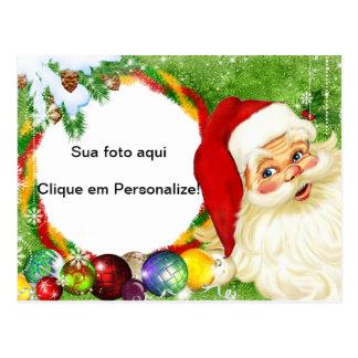 """Moldura para foto """"Papai Noel"""" Cartão Postal"""