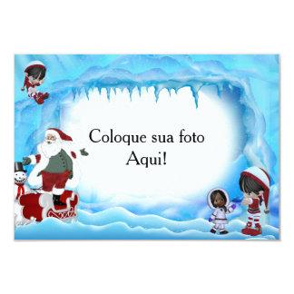 """Moldura para foto """"Papai Noel e meninas"""" Convite 8.89 X 12.7cm"""