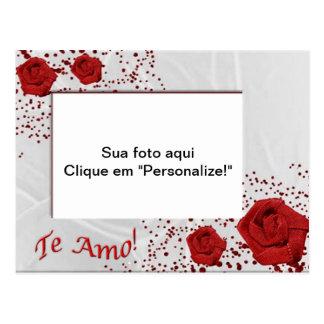 """Moldura para foto """"Rosas de pano"""" Cartão Postal"""