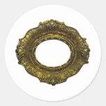 Moldura para retrato antiga do ouro adesivo redondo