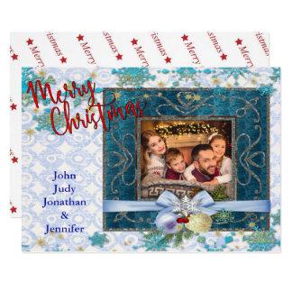 Moldura para retrato azul nevado do Natal Convite 12.7 X 17.78cm