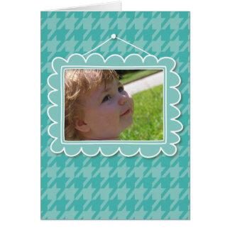 Moldura para retrato bonito com houndstooth azul cartão de nota
