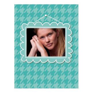 Moldura para retrato bonito com houndstooth azul cartão postal
