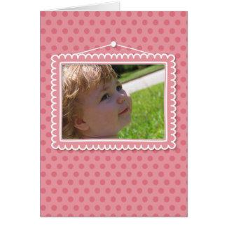 Moldura para retrato bonito com polkadots cartão de nota