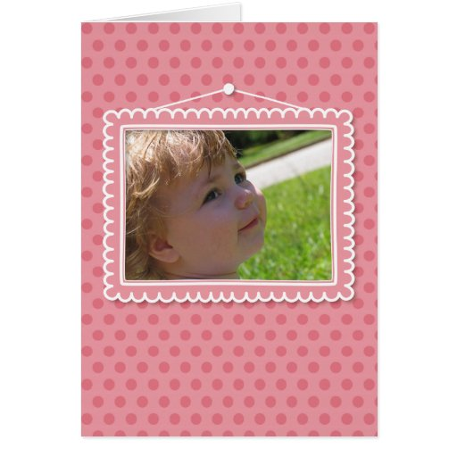 Moldura para retrato bonito com polkadots cartao