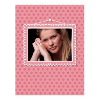 Moldura para retrato bonito com polkadots cartão postal