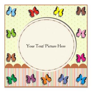 Moldura para retrato com borboleta fullcolor convite quadrado 13.35 x 13.35cm