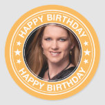Moldura para retrato do feliz aniversario no adesivo redondo