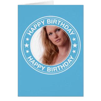 Moldura para retrato do feliz aniversario no azul cartão de nota