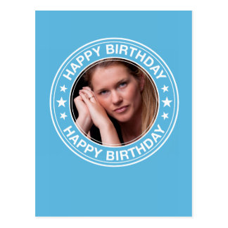 Moldura para retrato do feliz aniversario no azul cartão postal