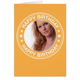 Moldura para retrato do feliz aniversario no cartão de nota