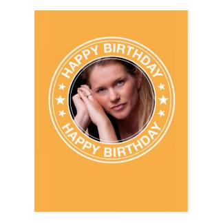 Moldura para retrato do feliz aniversario no cartão postal