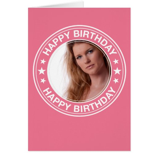 Moldura para retrato do feliz aniversario no rosa cartões