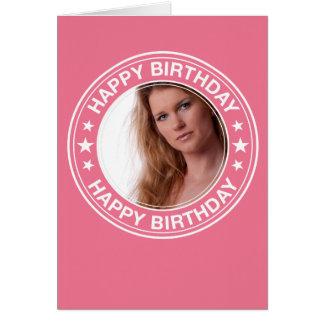 Moldura para retrato do feliz aniversario no rosa cartão de nota